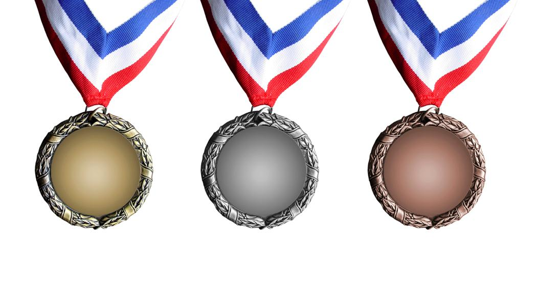 Olympic Medals - gold, silver, bronze